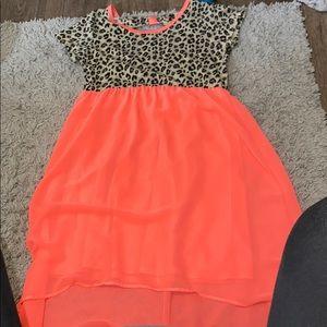 A neon pink cheetah print dress